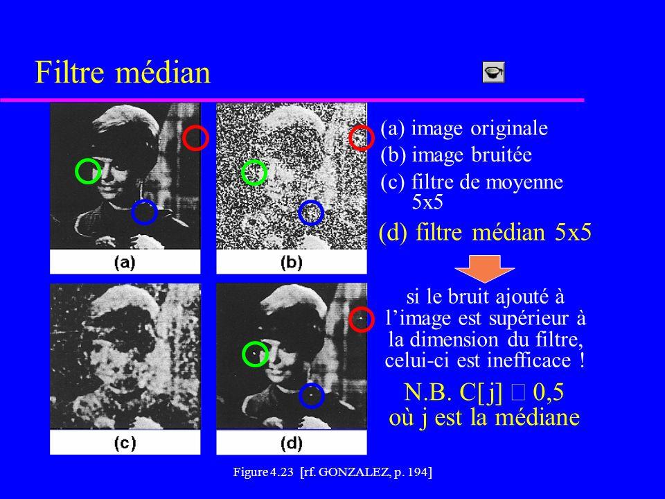 Filtre médian (d) filtre médian 5x5 N.B. C[ j] ³ 0,5